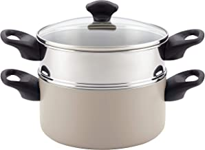 Farberware 21985 Dishwasher Safe Nonstick Sauce Pot/Saucepot  with Steamer Insert - 3 Quart, Silver