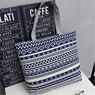 Women'S Large-Capacity Handbag Canvas Shoulder Bag Shopping Bag Beach Bag Casual Handbag Striped Flower Handbag