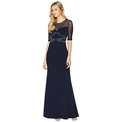 Adrianna Papell Short Sleeve Long Knit Crepe Gown with Contrasting Bodice Detail (Midnight) Women