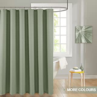 Shower Curtain Green Sage Shower Curtains Shower Drapes Metal Grommets Top for Bathroom Waterproof Waffle Weave Textured with Rust-resistant Metal Grommets Top Shower Curtains 72 inches Long Olive