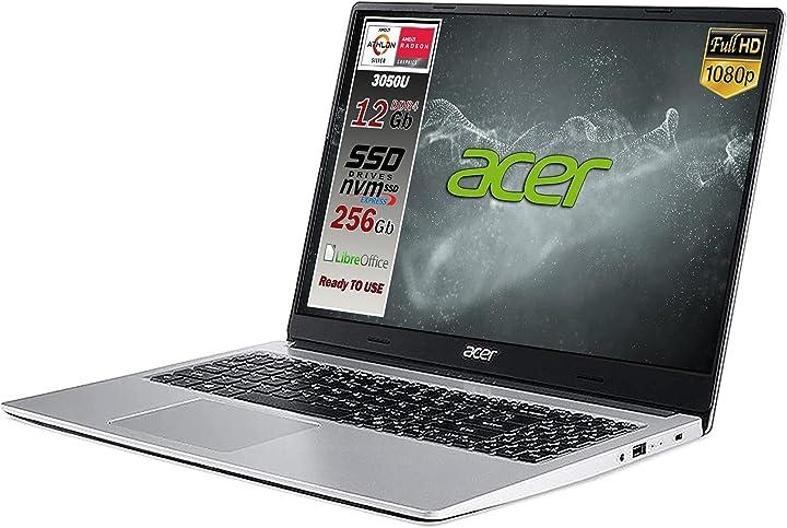 Pc portatile acer aspire ssd silver new athlon 3050u ram 12 gb ddr4 ssd m.2 pci da 256gb webcam B07YCHF1M6