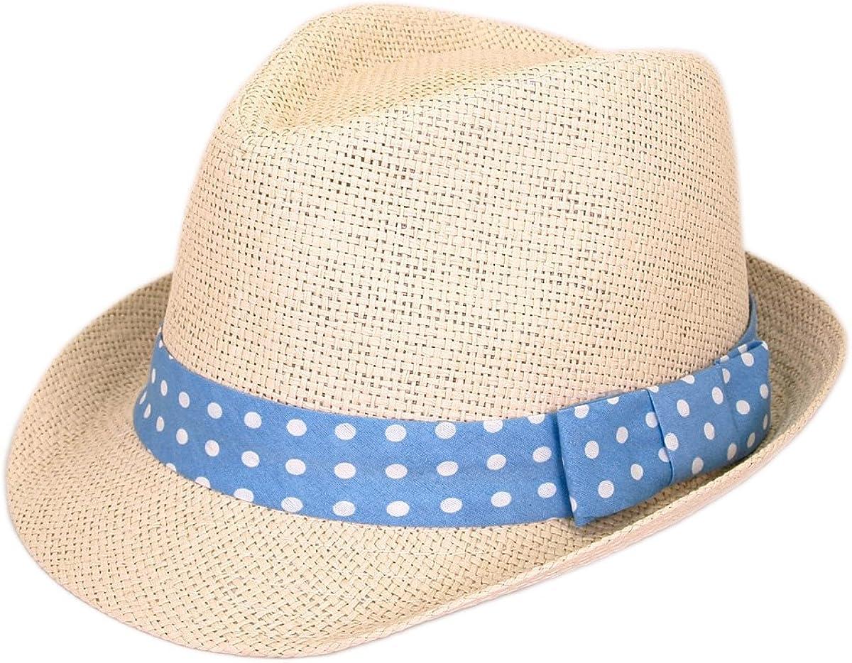 TrendsBlue Women's Polka Dot Band Natural Fedora Straw Hat Band Avail