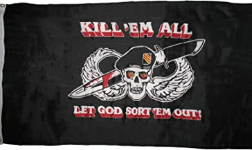 3x5 Special Forces Kill em Them All Let God Sort Them Out Military Flag 3'x5' Vivid Color and UV Fade Resistant Canvas Header and polyester material