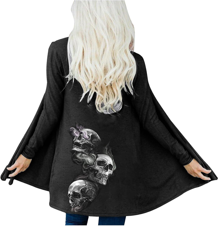 Fashion Women Halloween Cardigan Skull Print Autumn Coat Loose Long Sleeve Blouse Tops Outerwear