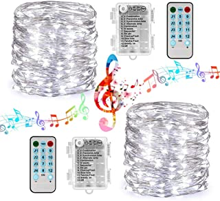 Joomer Sound Activated String Lights, 12 Modes 16.4ft 50 LED Battery Operated Twinkle String Lights with Remote Timer for Bedroom Wedding Party Festival Indoor Decor [2 Pack] (Silver Wire, White)