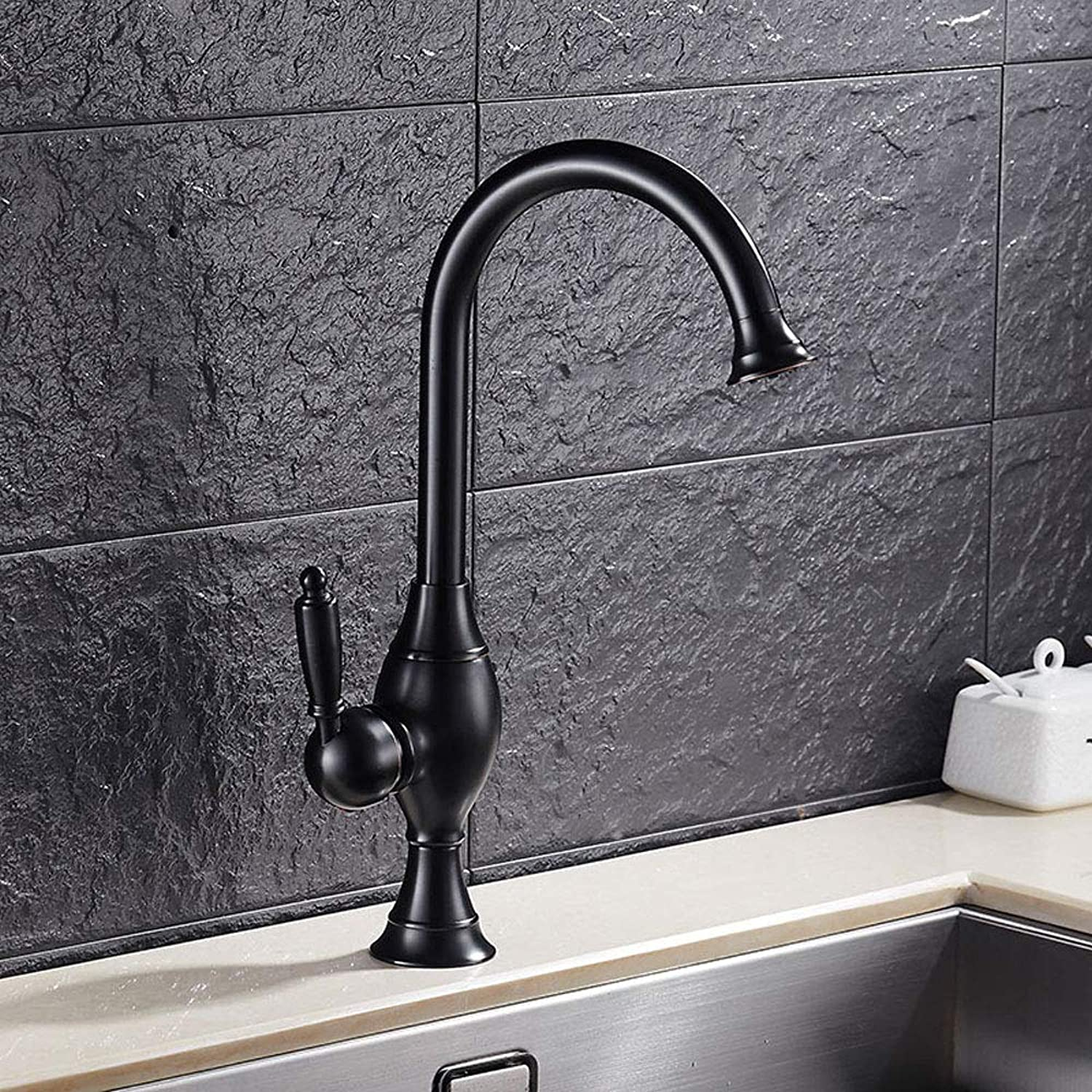 Innovation Lxy Country Style Tall Bath Tap Nostalgia Washbasin Mixer Tap 360 ° redatable Single Lever High Countertop Basin Brass Basin Mixer Tap with High Extended Spout Brushed, Black
