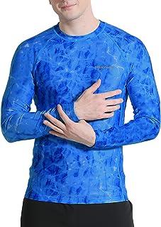 HISKYWIN Men's UPF 50+ Sun Protection Rash Guard Shirt UV Long Sleeve Wetsuit Swimsuit Tops