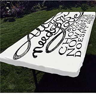 Quotes Decor Polyester Fitted Tablecloth,All You Need is Love Calligraphy Comic Fun Happiness Quotes Classic Artwork Print Rectangular Elastic Edge Fitted Table Cover,Fits Rectangular Tables 96x36