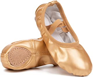 Leisfit Lightweight Kids Girls Womens Split Sole Foldable Leather Ballet Flats Shoes with Ankle Straps