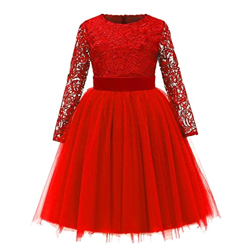 d69af8ab7478 Red Lace Long Sleeve Dress  Amazon.com