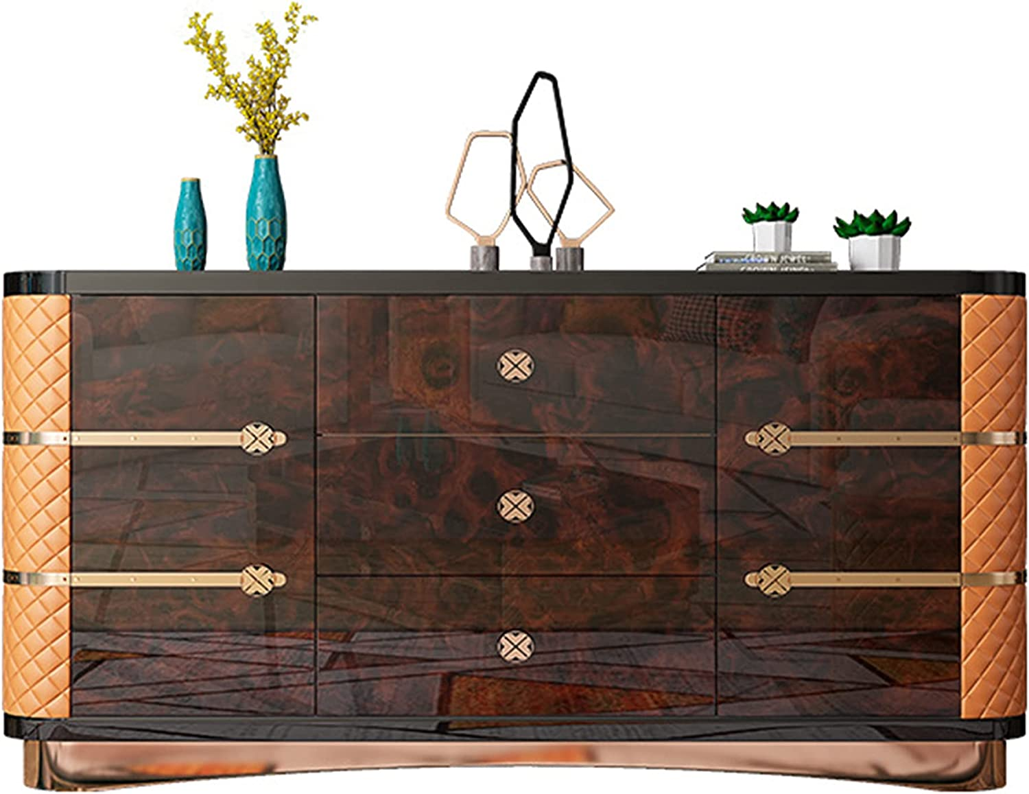 QINJIE Max 75% OFF Stainless Steel Buffet Sideboard Solid Table Nippon regular agency Wood Consol