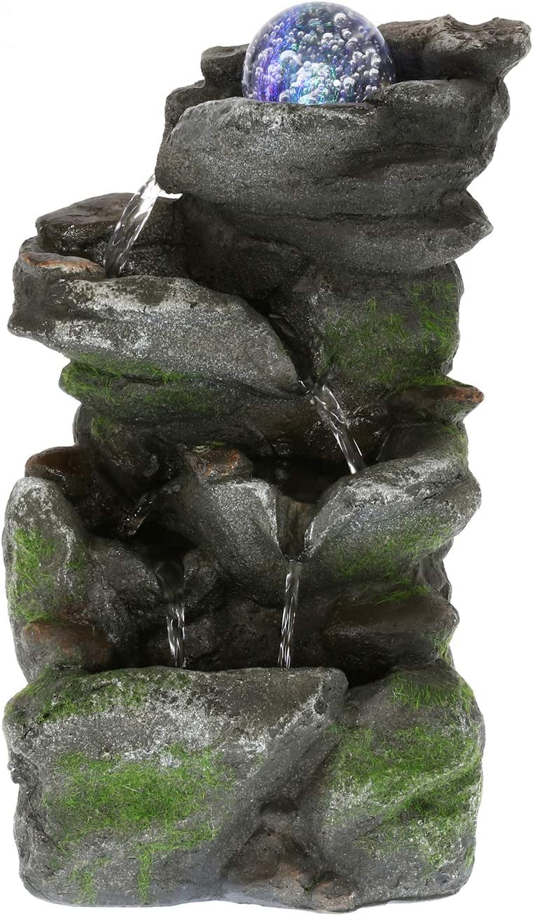 WICHEMI Water Fountains Indoor with Colorful Rolling Ball, Stacked Rocks Waterfall Feature - Quiet and Relaxing Water Sound - Tabletop Relaxion Fountains for Home Office Decor (Style 9)