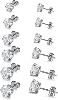 Boucles d'oreilles 6Paires Clous d'oreilles- Oxyde de Zirconium - Acier Inoxydable - Pour Homme Femme - Couleur Blanc Noir...