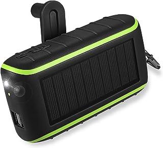 【2020進化版】CXYP 手回し充電器 12000mAh 大容量 ソーラーチャージャー モバイルバッテリー LED高輝度ライト付き 2 USB出力ポート太陽光発電充電器 PSE認証済 (黒)