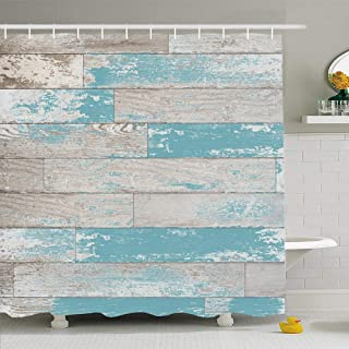 Ahawoso Shower Curtain Set with Hooks 66x72 Brown Turquoise Paneling Teal Plank Stain Wood with Boards Feel Retro On Vintage Textures Bleached Waterproof Polyester Fabric Bath Decor for Bathroom