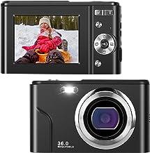 Cámara digital IEBRT, cámara 1080P Mini Kid Cámara Vlogging Cámara de vídeo Pantalla LCD 16X Zoom Digital 36MP Recargable Punto y Disparar Cámara para Niños Compacto Portátil Adolescentes Regalos (Negro)