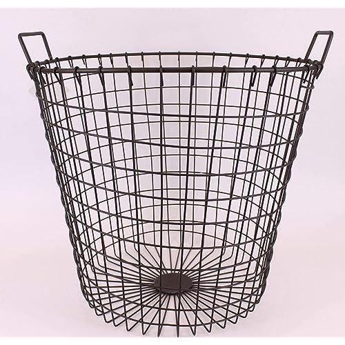 Vintage Industrial Style Large Long Wire Storage Basket With Handles Dark Grey