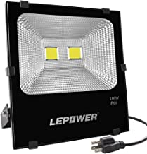 LEPOWER 100W LED Flood Light Outdoor, Super Bright Outdoor Work Light, 500W Halogen Bulb Equivalent, IP66 Waterproof, 8000lm, 6000K, White Light,Floodlight (100W White Light)