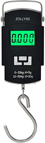 Zollyss Portable Electronic Digital Weighing Plastic Hanging Scale for Travel Luggage 50 Kg Black
