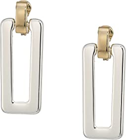 Two-Tone Link Clip Drop Earrings
