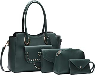 Women's Totes,Handbag for Women,4pcs/set Women's Bag with Decoraction Snap,PU Leather Travel Bag for Women,Labtop bag,Ladi...