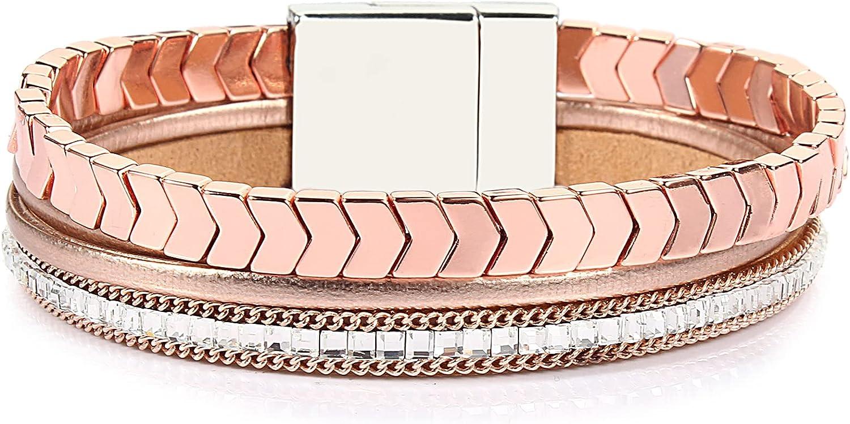 FANCY SHINY Hematite Leather Wrap Bracelets Beaded Healing Stone Cuff Bracelet Rhinestone Boho Jewelry Gift for Women with Magnetic Clasp