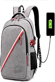 Casual Backpack,15.5 Inch Anti-Theft Large Capacity Laptop Backpack with USB Charging Port Waterproof Unisex Gray