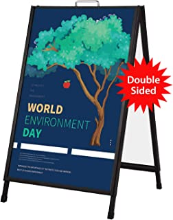 Starrier A Frame Sidewalk Sign for Posters, Portable Slide-in Folding Style, Metal Frame Sandwich Board Signs 24x36 Inch,2 Corrugated Plastic Included