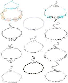 Udalyn 11 Pcs Beach Anklets Bracelets for Women Foot Jewelry Boho Beach Anklet Chain Foot Jewelry Starfish shell rice bead...