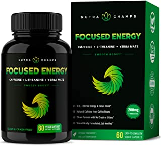Caffeine Pills with L-Theanine for Energy & Focus - Smooth & Clean Focused Energy - Cognitive Stack with Yerba Mate for Pe...