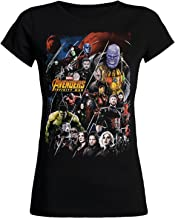 Camiseta Avengers para Mujer Infinity War Collage Marvel Elven Forest Cotton Black