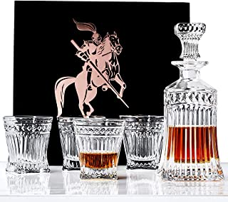 Whiskey Decanter Set Lead Free Crystal with 4 Glasses in Unique Elegant Gift Box for Brandy,Scotch,Bourbon,Liquor,Vodka