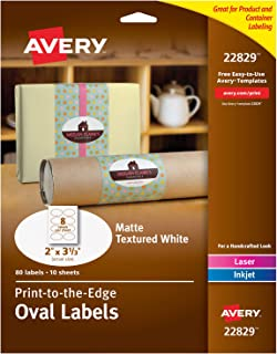 "Avery Oval Labels with Sure Feed for Laser & Inkjet Printers, 2"" x 3-1/3"", 80 Labels (22829),White"