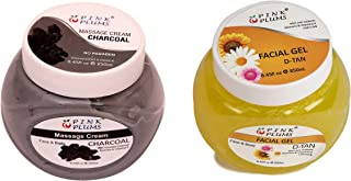 PINK PLUMS Glowing Charcoal Massage Cream and D-tan Facial Gel With Vitamin E, COMBO (PACK OF 2), Each 250 ml