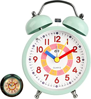 DTKID Tysta väckarklockor vid sängen tickar inte batteridrivna bordsklockor lysande stor display snooze ljusfunktion för s...