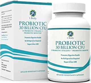 30 Billion CFU Probiotic Supplement with Prebiotics - Patented Acid Resistant Capsules to Promote Gut Health, Support Immu...