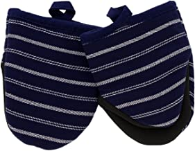 Cuisinart Neoprene Mini Oven Mitts, 2pk - Heat Resistant Oven Gloves Protect Hands and Surfaces with Non-Slip Grip and Hanging Loop-Ideal Set for Handling Hot Cookware, Bakeware-Twill Stripe Navy Aura