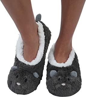 Womens Animal Heads Sherpa Plush Fleece Lined Slipper Socks