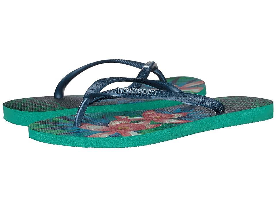 Havaianas Slim Tropical Flip Flops (Mint Green) Women