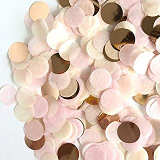 StarParty 6000 Pieces Rose Gold Paper Confetti Circles Tissue Party Table Confetti for Wedding, Holiday, Anniversary, Birthday, 1 Inch (1.8 oz)