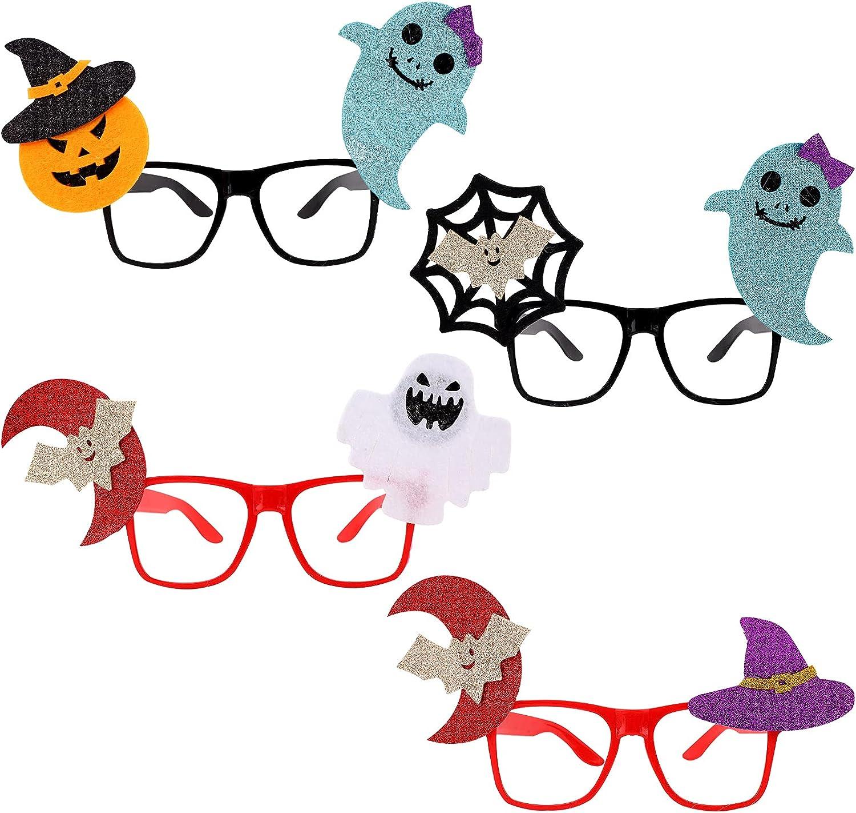 4 piezas de anteojos de Halloween para fiestas de Halloween decoración divertidos accesorios para fotos gafas de vestir para decoraciones de fiestas de Halloween regalos para fiestas de disfraces