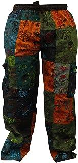 SHOPOHOLIC FASHION Mens Summer Hippie Cargo Pockets Combat Trousers
