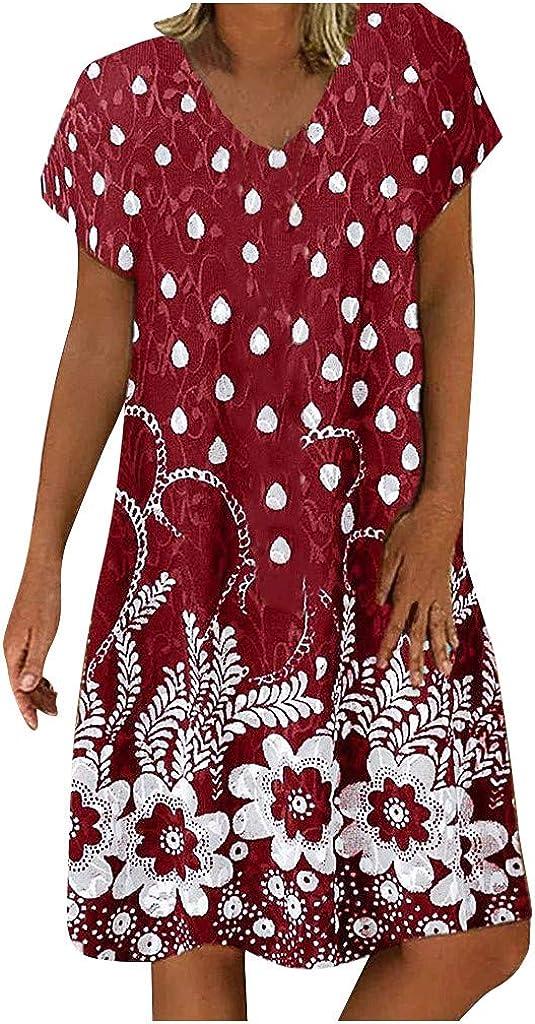 KINGOLDON Women Floral Print Patchwork V-Neck Short Sleeves Dress Casual Loose Dot Dress