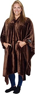 Original THROWBEE Blanket-Poncho CHOCOLATE BROWN (Yay! NO SLEEVES) Best Wearable Blanket on the planet SOFT throw Indoors or Outdoors - adults men women kids