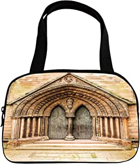 Multiple Picture Printing Small Handbag Pink,Rustic Decor,Medieval Middle Age Cathedral Door Exit with Gothic Ornate Features Great Britain UK Theme,Cream,for Girls,Comfortable Design.6.3