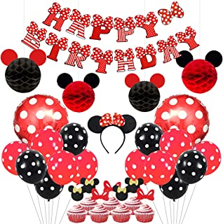 Kreatwow Mickey and Minnie Party Supplies Red and Black Ears Headband Happy Birthday Banner Polka Dot Balloons Set for Minnie Themed Party Decorations