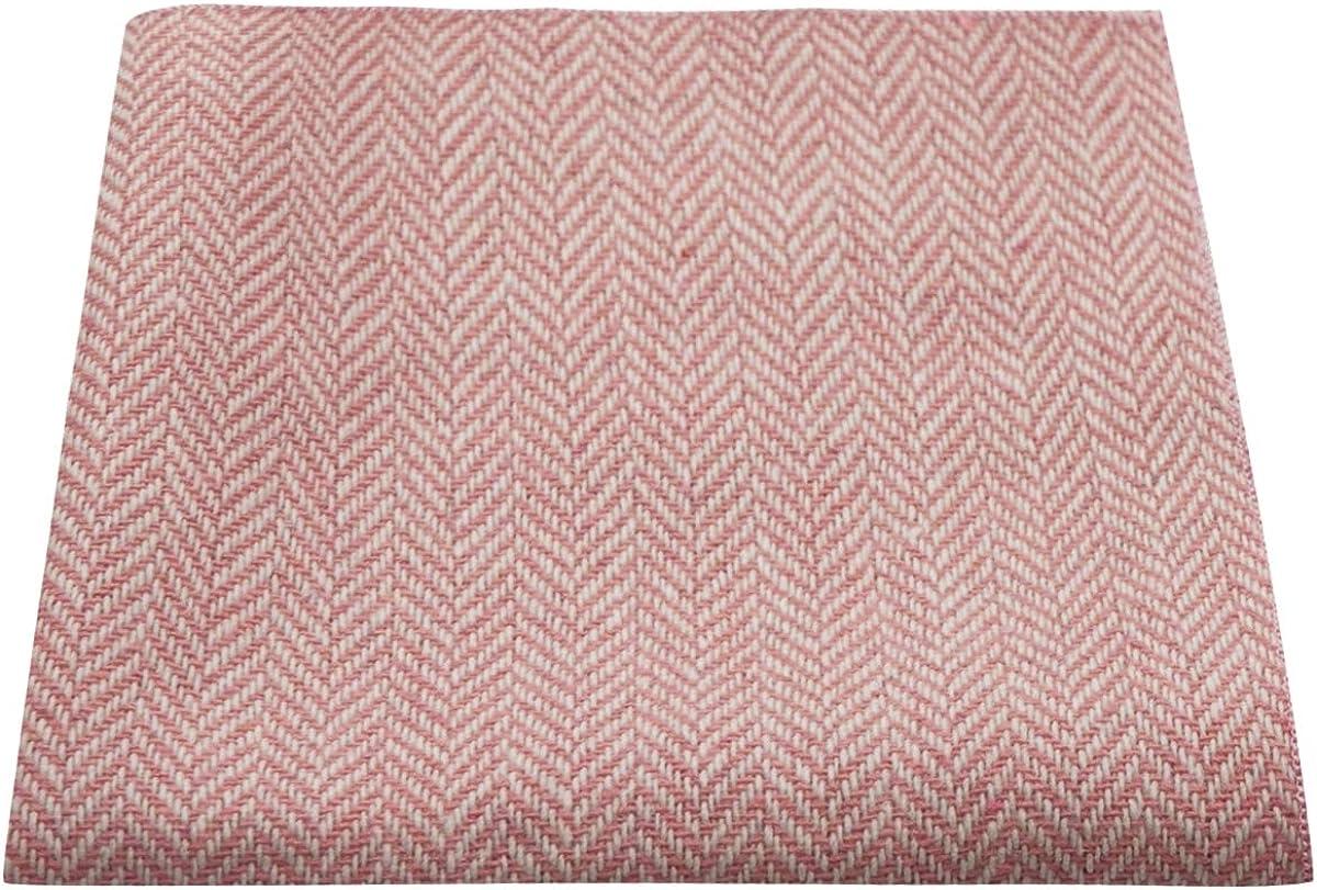 Candy Pink & Cream Herringbone Pocket Square, Handkerchief