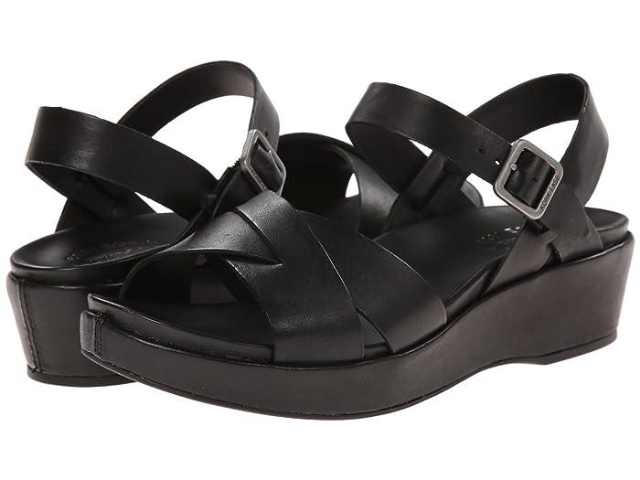 Vintage Sandal History: Retro 1920s to 1970s Sandals Kork-Ease Myrna 2.0 Black FG Womens Wedge Shoes $139.95 AT vintagedancer.com