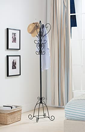 Kings Brand Texture Black Metal Coat Rack & Hat Stand with Umbrella Holder