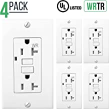 20 Amp GFCI Outlet Electrical Receptacle with LED Indicator, 2-Wires 3-Poles, Tamper Resistant (TR) & Weather Resistant (WR), Nylon Wall Plate & Screws Included, 125V, Self-Test UL2008 (4 Pack, White)